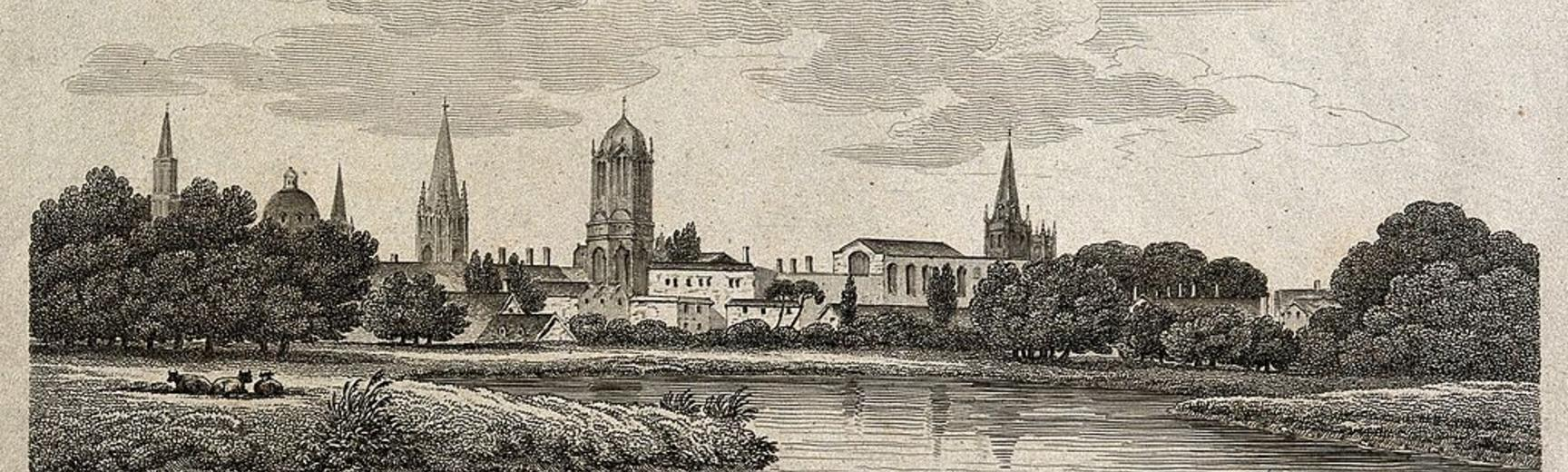 city of oxford view from the cherwell etching by j roffe wellcome v0014236